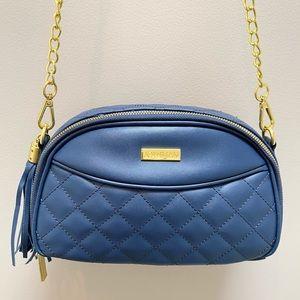 Joy & Iman blue diamond quilted crossbody bag